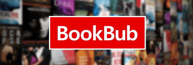 The logo of the company BookBub which gives away free books.