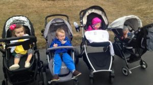 A group of little ones hanging out in various strollers.