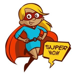 An image depicting a cartoon style mom superhero.